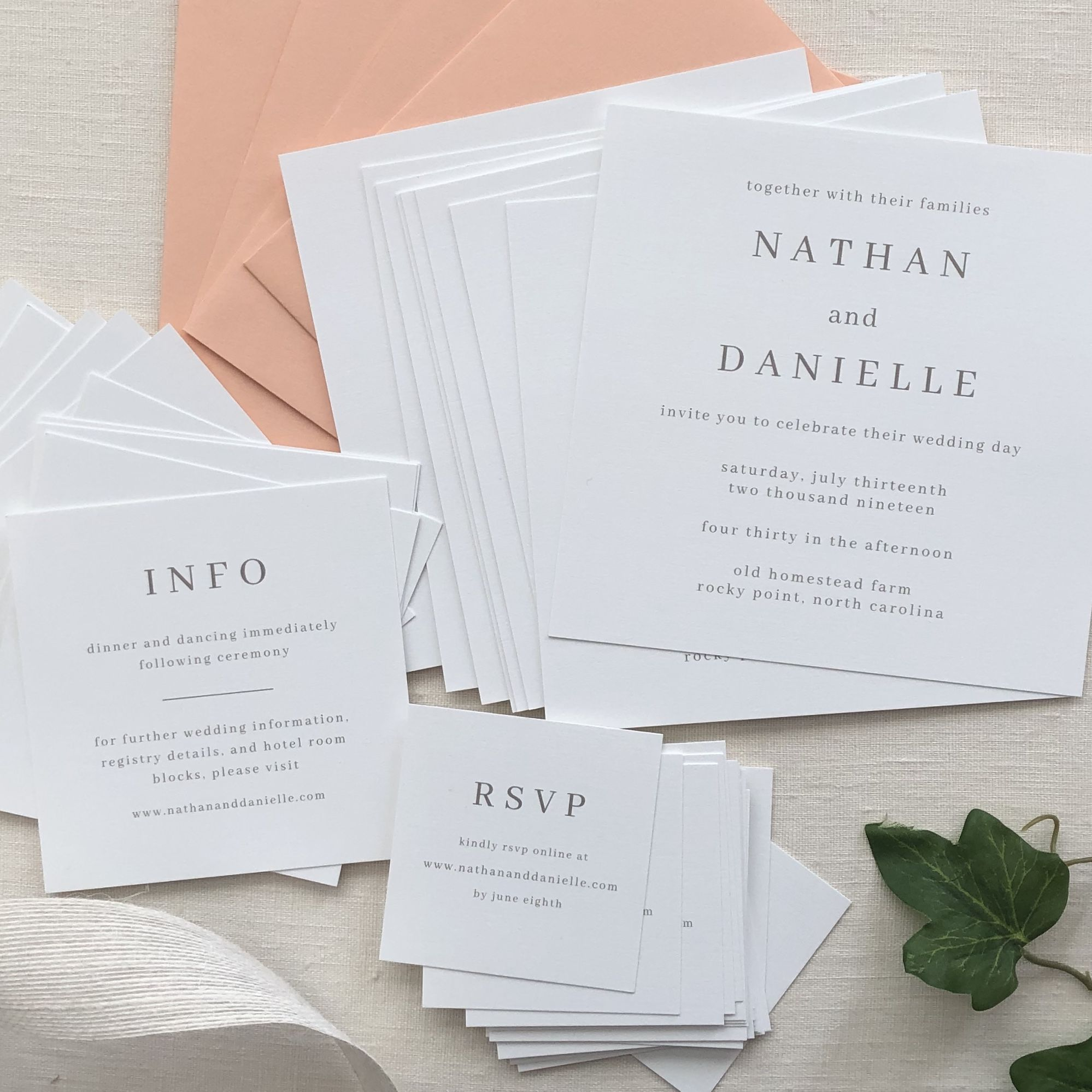 Modern Square Wedding Invitation Suite With Peach Envelopes White Linen Pape Square Wedding Invitations Bespoke Wedding Invitations Custom Wedding Invitations
