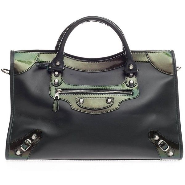 1c6ef01c66 Pre-Owned Balenciaga Holiday City Giant Studs Matte Calfskin Medium  ($1,000) ❤ liked on Polyvore featuring bags, handbags, green, balenciaga  purse, ...
