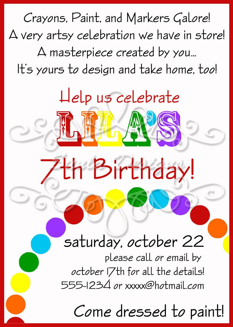 Art Themed Birthday Party Invitations | Art birthday, Rainbow art ...