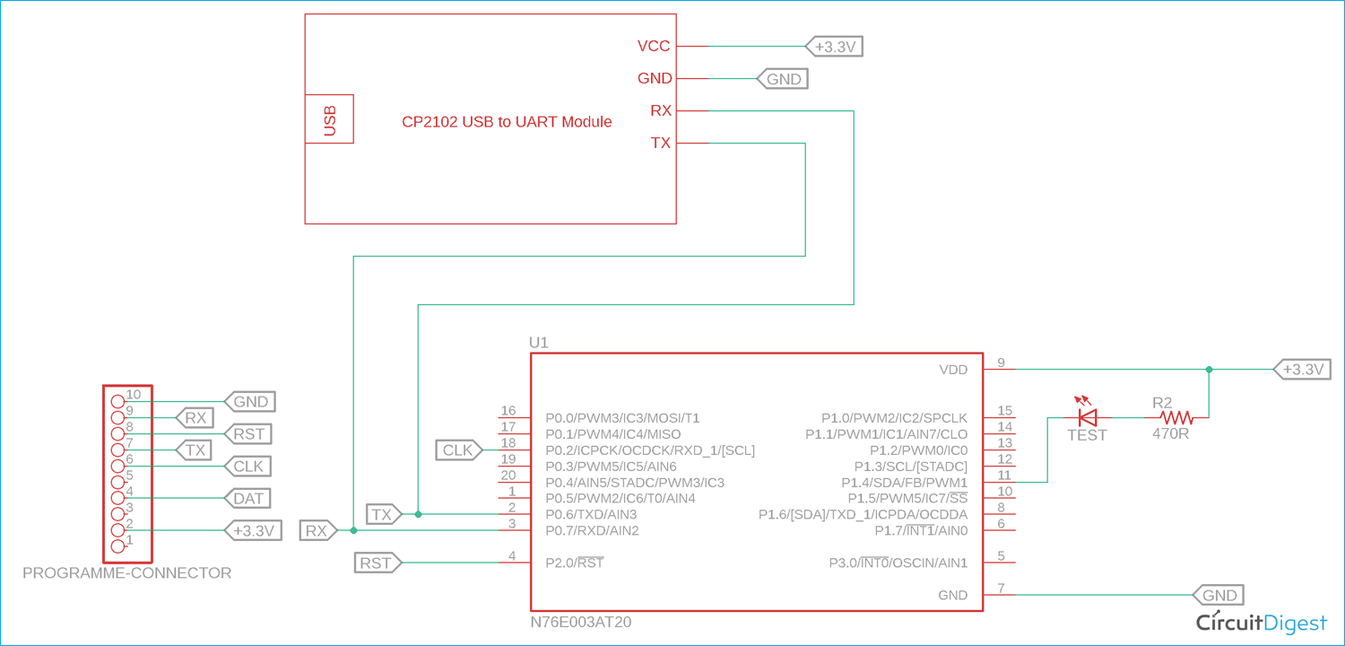 Uart Communication With Nuvoton N76e003 Microcontroller Serial Communication In 2020 Microcontrollers Communication Circuit Diagram