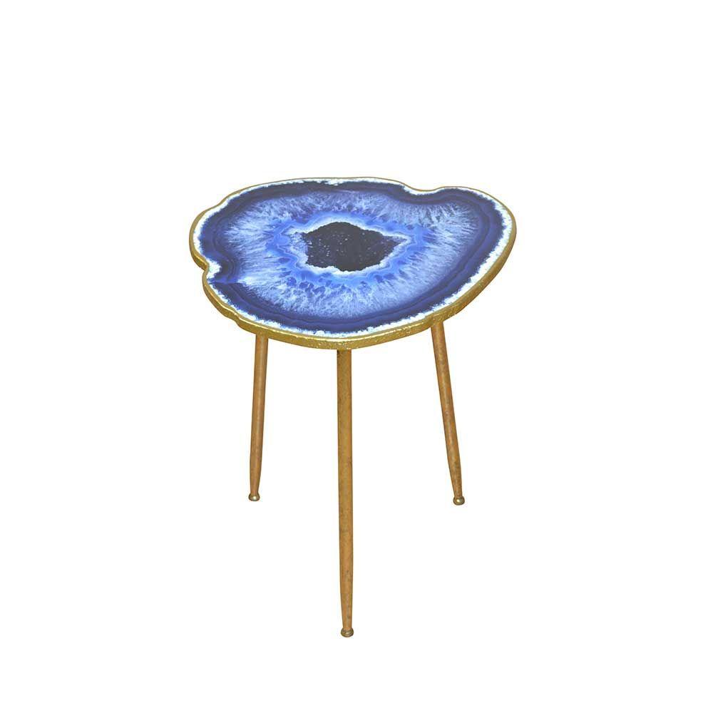 Designertisch mit organischer Platte Blau Gold Jetzt bestellen ...