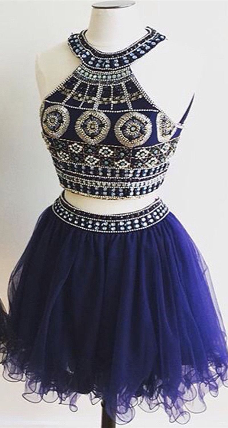 Royal blue homecoming dressestwo pieces homecoming dressesshort