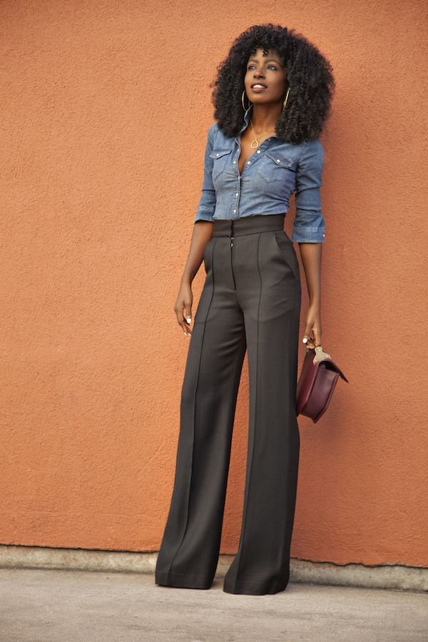 f4c605d050a Denim shirt and black high waist flare trousers. I have all of the pieces in  my closet to recreate this look!