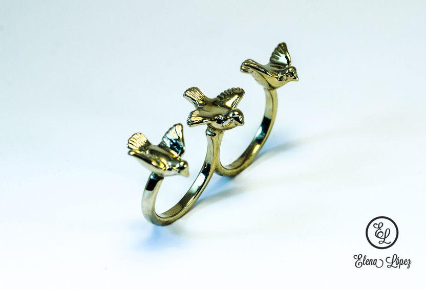 anillo doble chapa de oro joyera diseo exclusivo diseo mexicano paloma