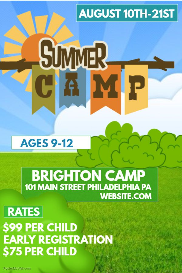Summer Camp poster flyer social media graphic design template