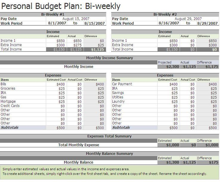 Free Biweekly Budget Excel Template  Home Office