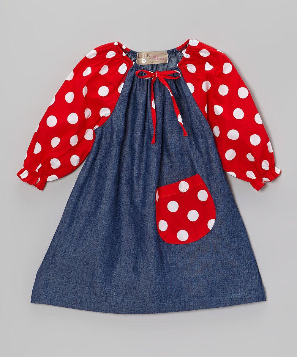05a3dc8d1 Love this Lele Vintage Denim Blue & Red Polka Dot Peasant Dress - Toddler &  Girls by Lele Vintage on #zulily! #zulilyfinds