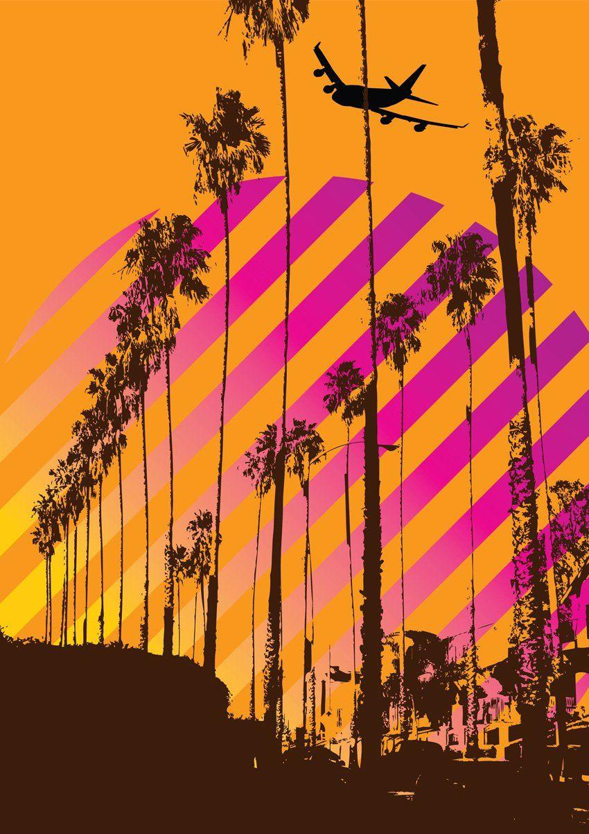Vector Illustration Tree: Free Hollywood Blvd Palm Trees Vector Art Illustration