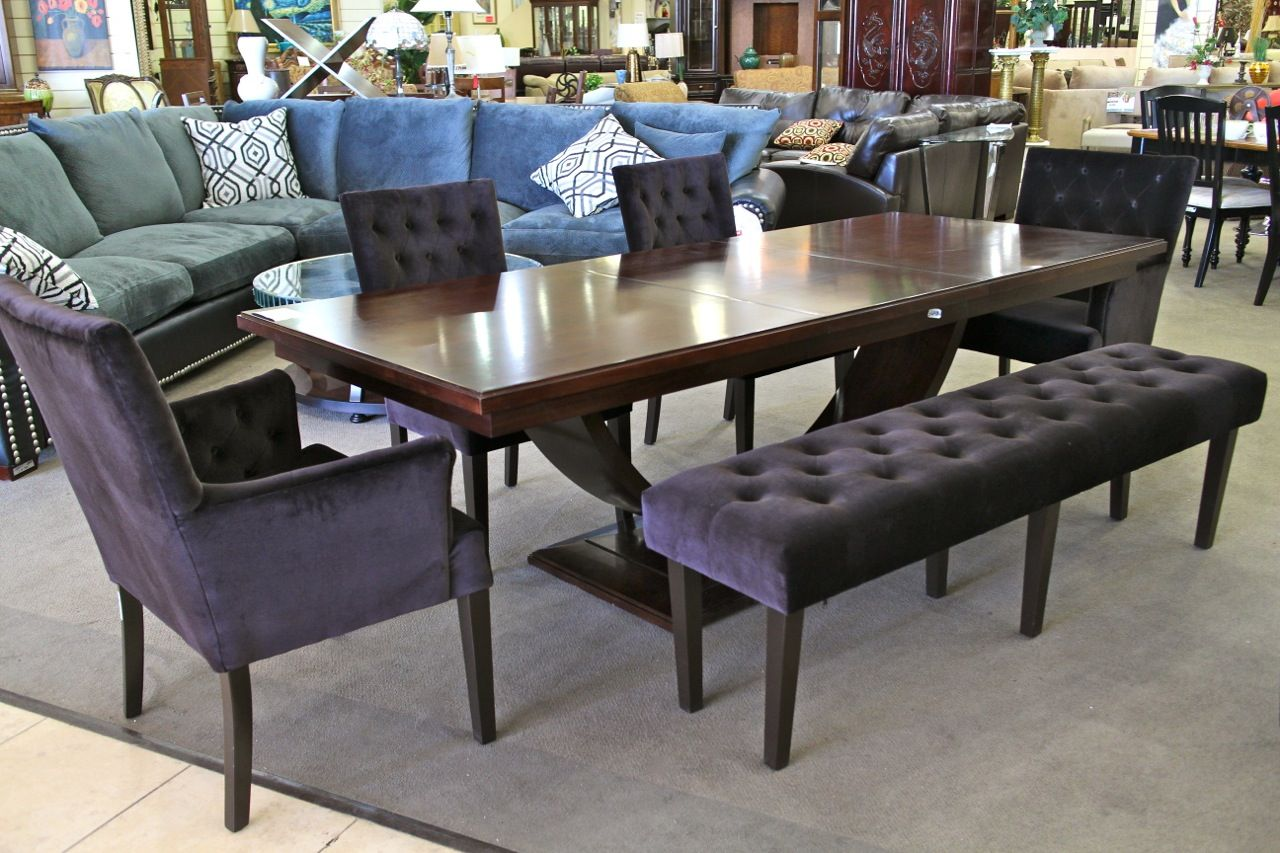 Darkwood Dining Table W 4 Black Velvet Tufted Chairs And Bench