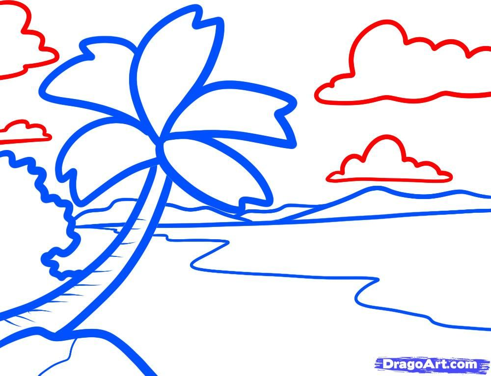 how to draw a beach for kids  Drawing Ideas for Kids  Pinterest