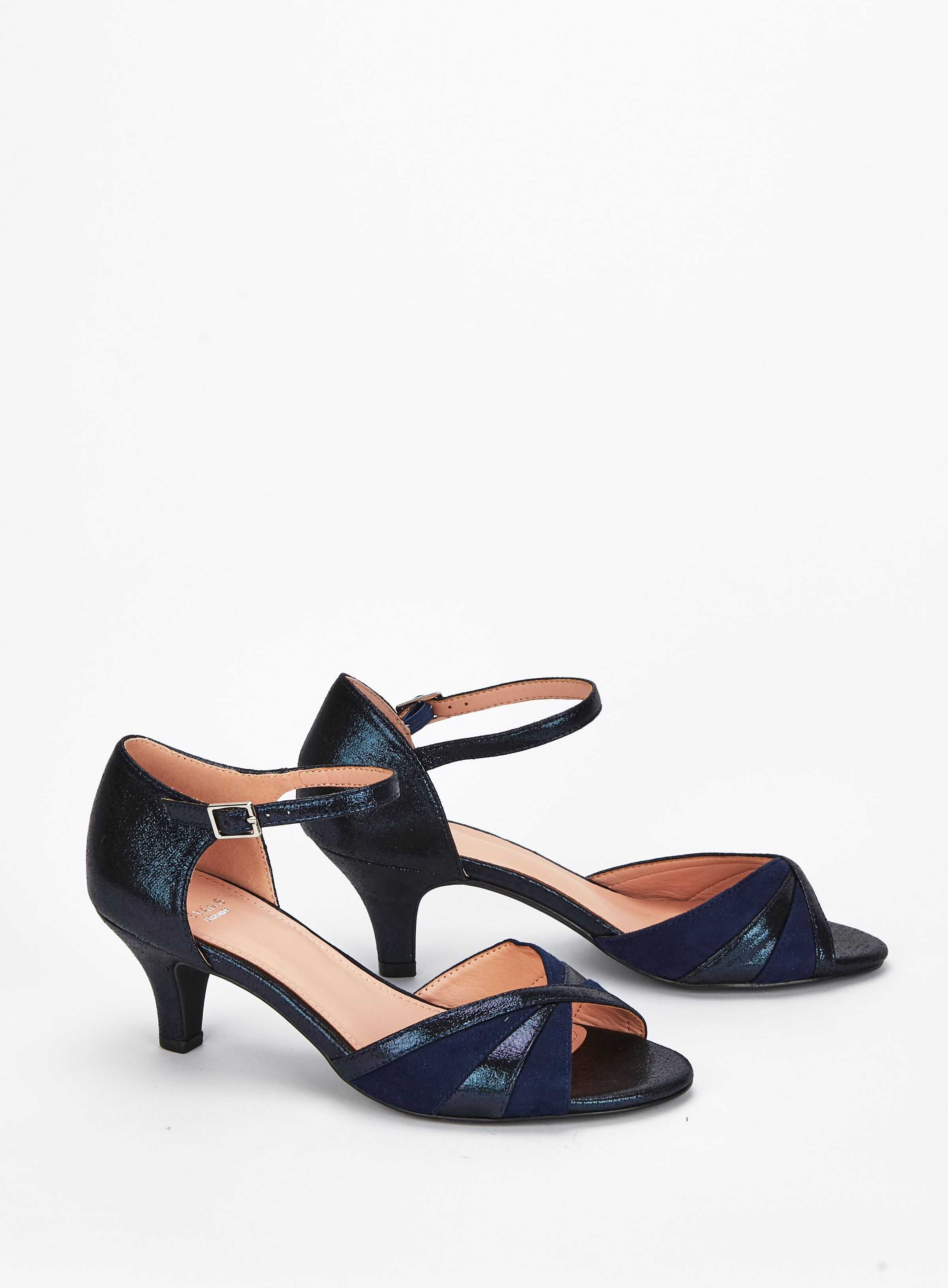 b2fb96a5bb8a9 EXTRA WIDE FIT Navy Blue Peep Toe Heel Sandals | Wedding outfit ...