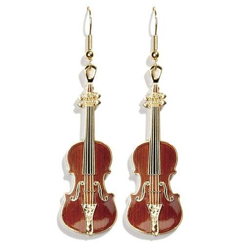 Fashion Wood Violin Guitar Multicolor Pendant Earring Charm  Women Jewelry Gift