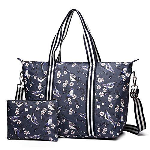 de574aeeeeeeb Miss Lulu 2 Pieces Set Women Bird Flower Matte Oilcloth Foldaway Overnight  Bag Large Light Weight Shoulder Handbag