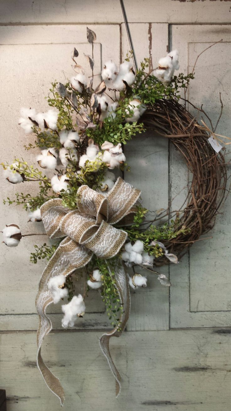 Cotton Wreath Cotton Wreath More The Post Cotton Wreath Appeared First On Cotton Diy Rustic Christmas Wreath Wreath Decor Rustic Wreath