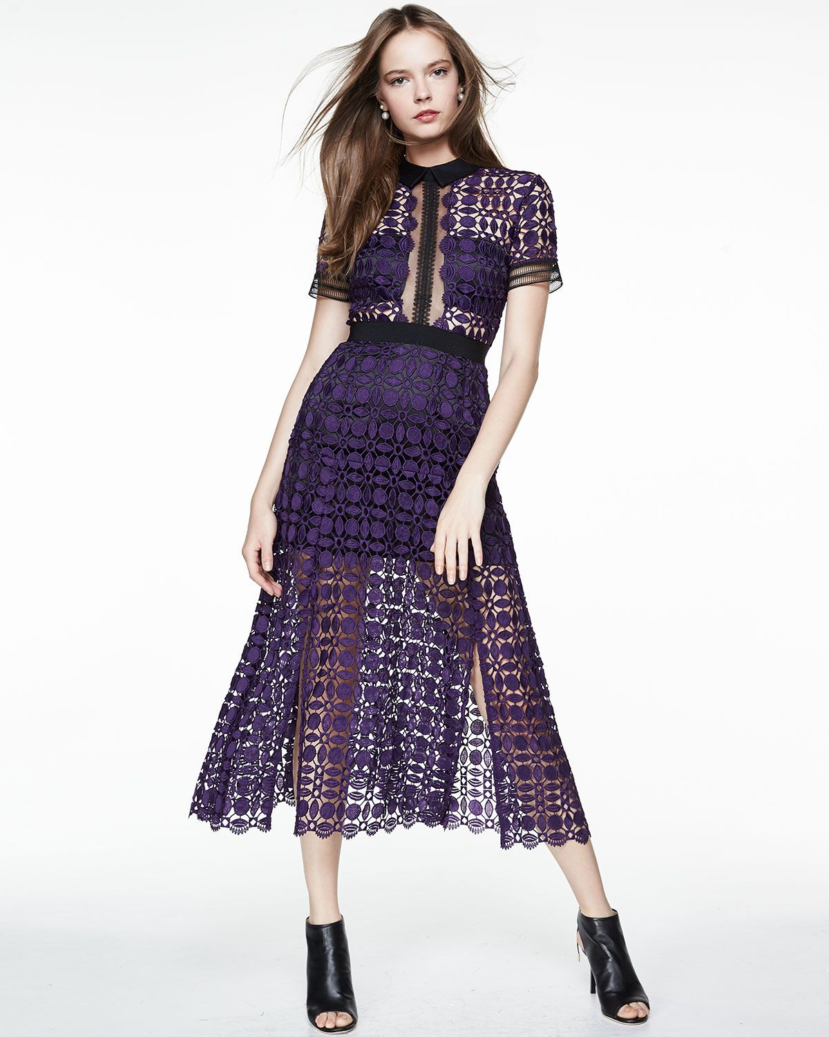 0429f92a5af31 Self Portrait Short-Sleeve Guipure-Lace Midi Dress in purple