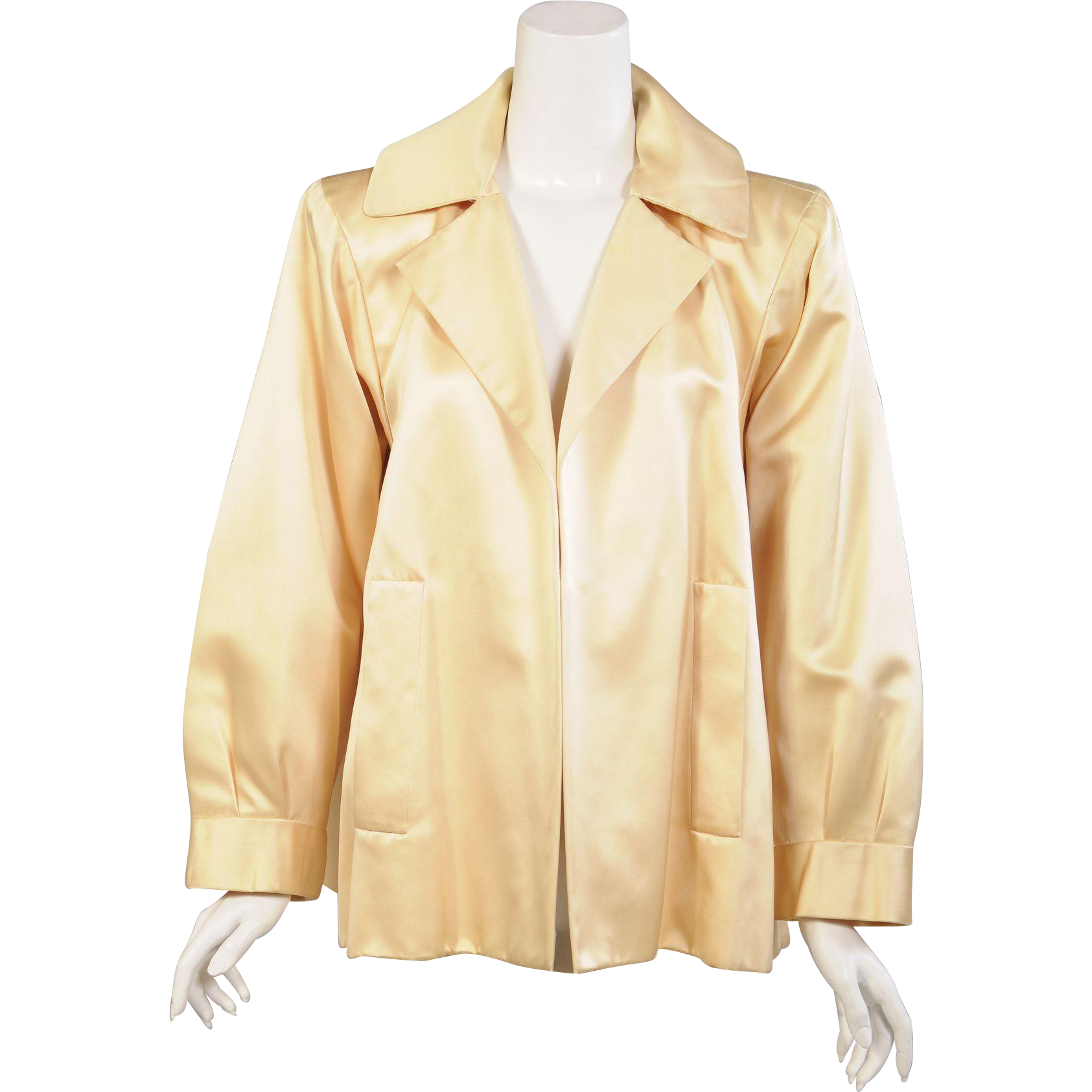 493aae8fdab Pale buttery yellow silk satin makes a stunning and versatile evening jacket  from YSL Haute Couture. This piece was worn on the runway and bears the