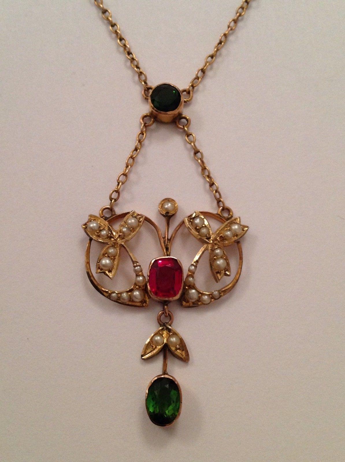 Beautiful fine art nouveau ct gold tourmaline u pearl set pendant