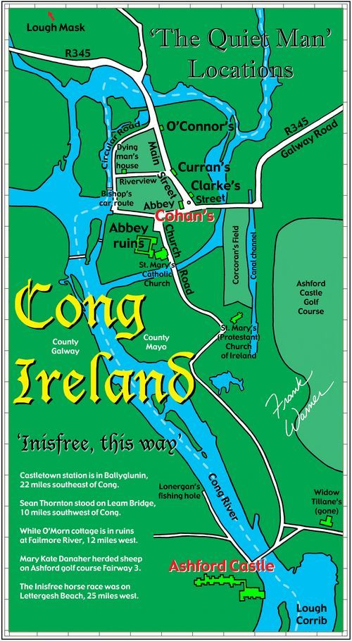 Map of Cong, Ireland, the Inisfree of 'The Quiet Man' | shows and