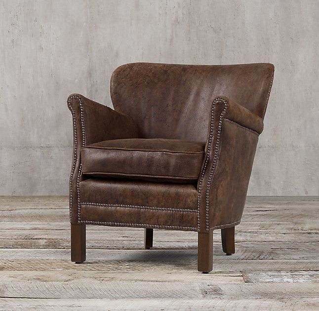 Professoru0027s Leather Chair With Nailheads Destroyed Espresso Leather