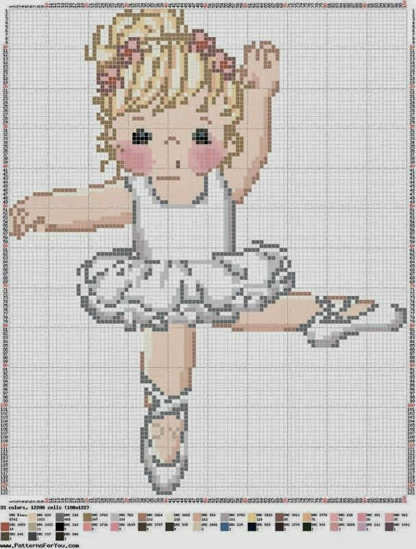 SWEET LITTLE BALLERINA CROSS STITCH PATTERN **WISH WAS RE DRAWN FOR PLASTIC CANVAS!!**
