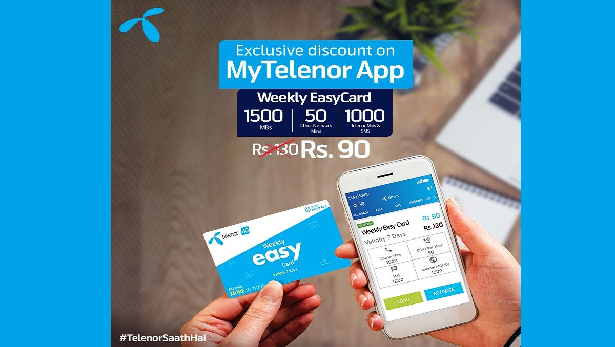 Get Weekly Easy Card For Just Rs 90 On My Telenor App Simple Cards Cards App