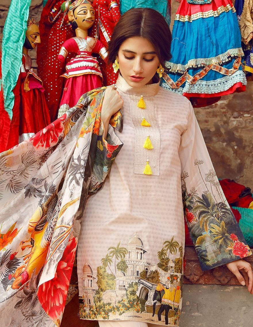 c7d3b4db53 Cross Stitch Eid pink digital printed cotton lawn dress 2017 | Cross ...