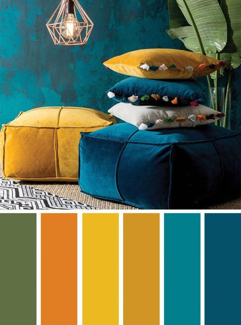 Peacock Blue And Yellow Sumptuous Velvet Bold Livingroomideas Living Room Color Schemes Mustard Color Scheme Turquoise Room