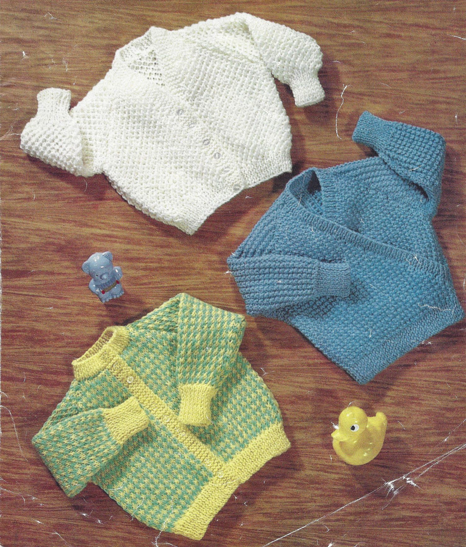 PDF Instant Digital Download 3 baby cardigans double knit ...