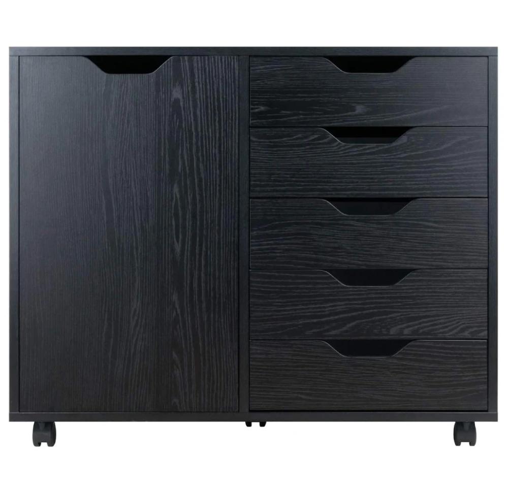 Daily Deal File Cabinets Black Wood 5-Drawer Filing Cabinet – UntilGone.com