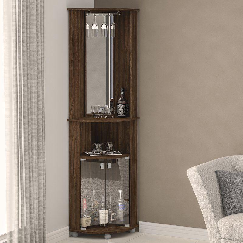 Boahaus Corner Bar Cabinet With Mirrored Wall Reviews Wayfair