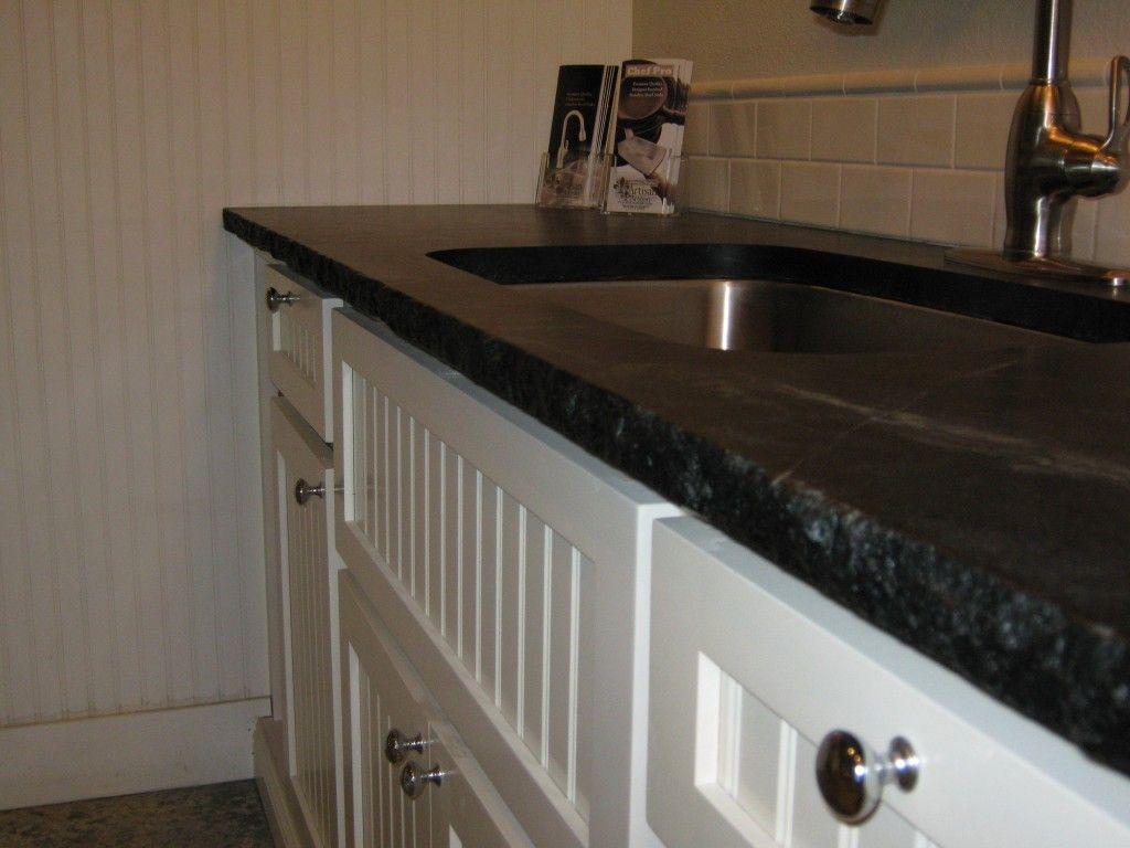 Black Honed 6cm Edge | New Display, We Opted To Fabricate A Chiseled Edge.  Soapstone KitchenGranite EdgesGranite CountertopsKitchen ...