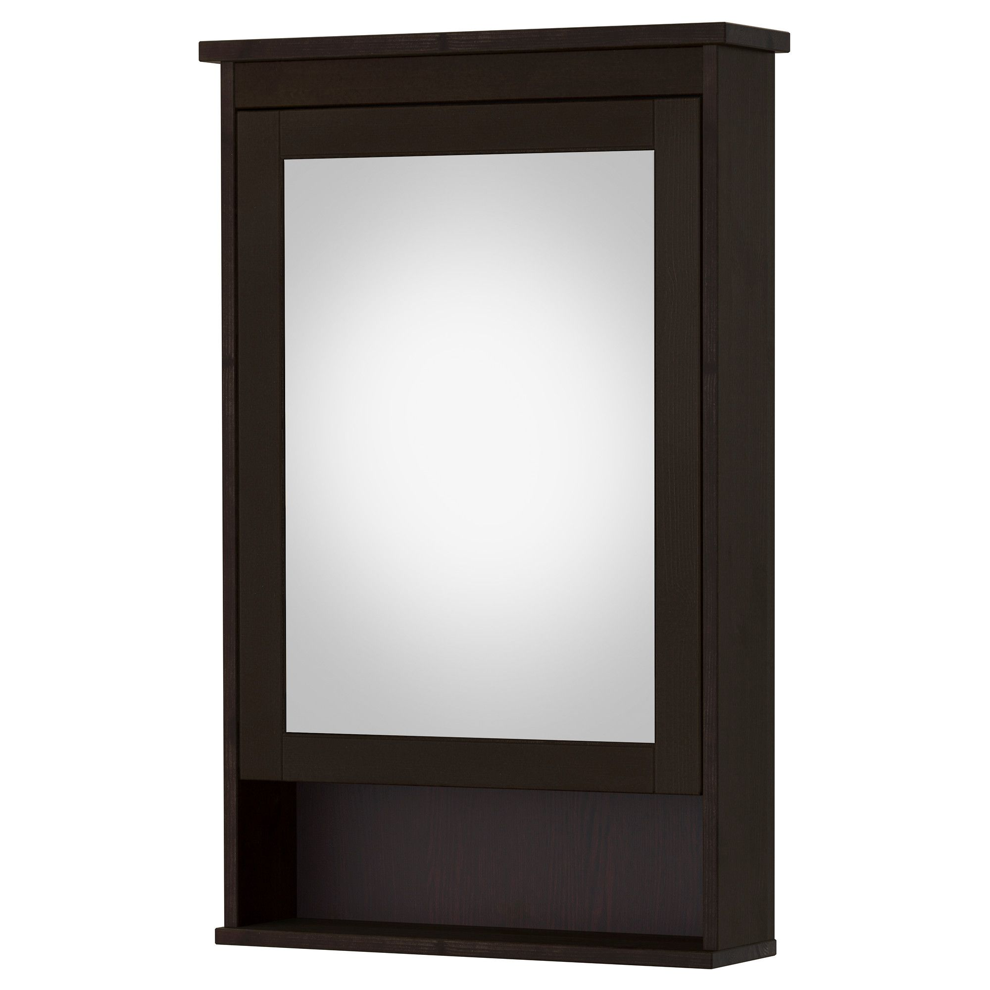 HEMNES Mirror cabinet with 1 door, black-brown stain | HEMNES ...