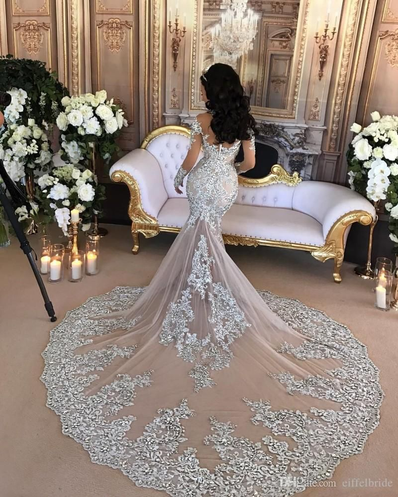 e5d3bf26e6c Luxury Sparkly 2017 Wedding Dress Sexy Sheer Bling Beaded Lace Applique  High Neck Illusion Long Sleeve Champagne Mermaid Chapel Bridal Gowns