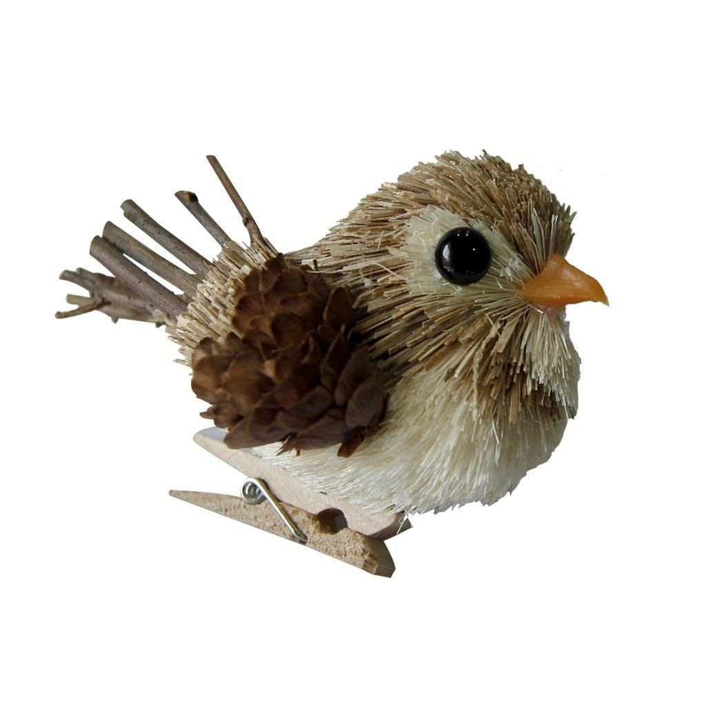 YuQi Handmade Sparrow with Clip Sets of 3 Artificial Decorations Fake Birds for Arts Ornaments and Crafts,Home D/écor Accents for Country Christmas Tree Grey