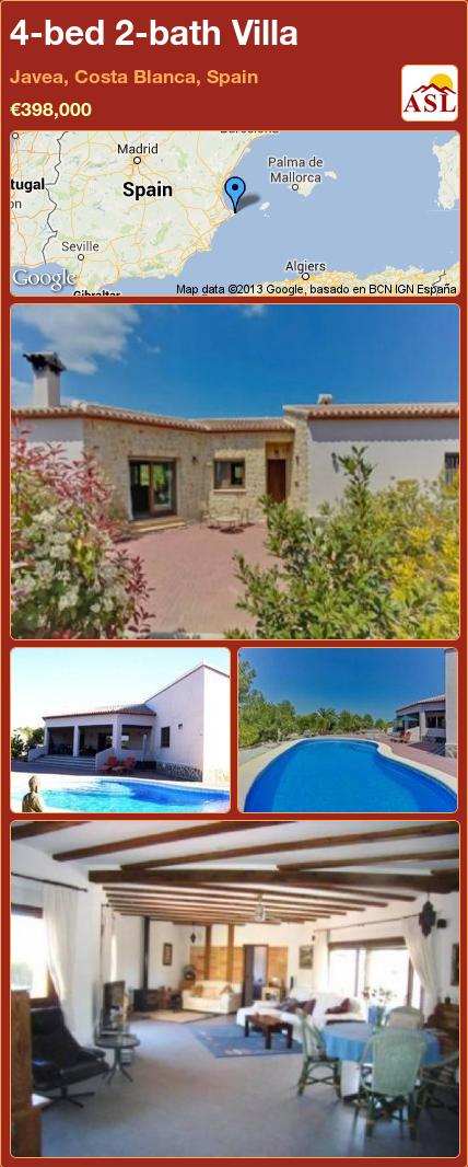 4-bed 2-bath Villa in Javea, Costa Blanca, Spain ►€398,000 #PropertyForSaleInSpain