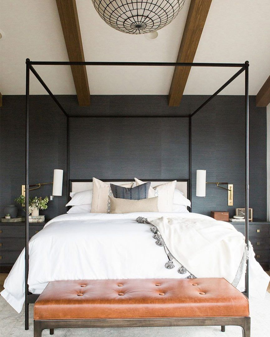 another lovely bedroom from studiomcgee find that canopy bed on