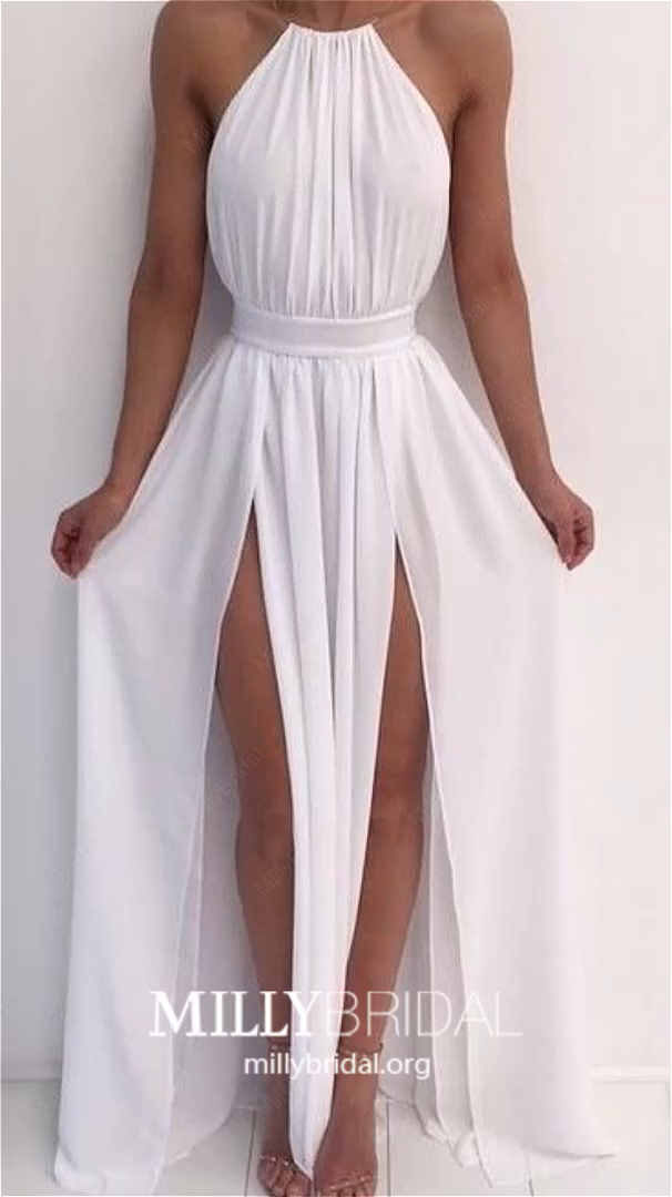 2019 Modest Prom Dresses Long, White Pageant Dresses With Slit, Chiffon Evening Dresses A Line