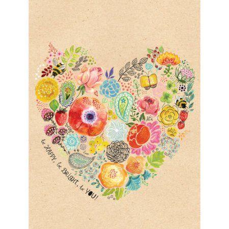 Oopsy Daisy - Be Happy Be Bright Canvas Wall Art 18x24, Miriam Bos ...