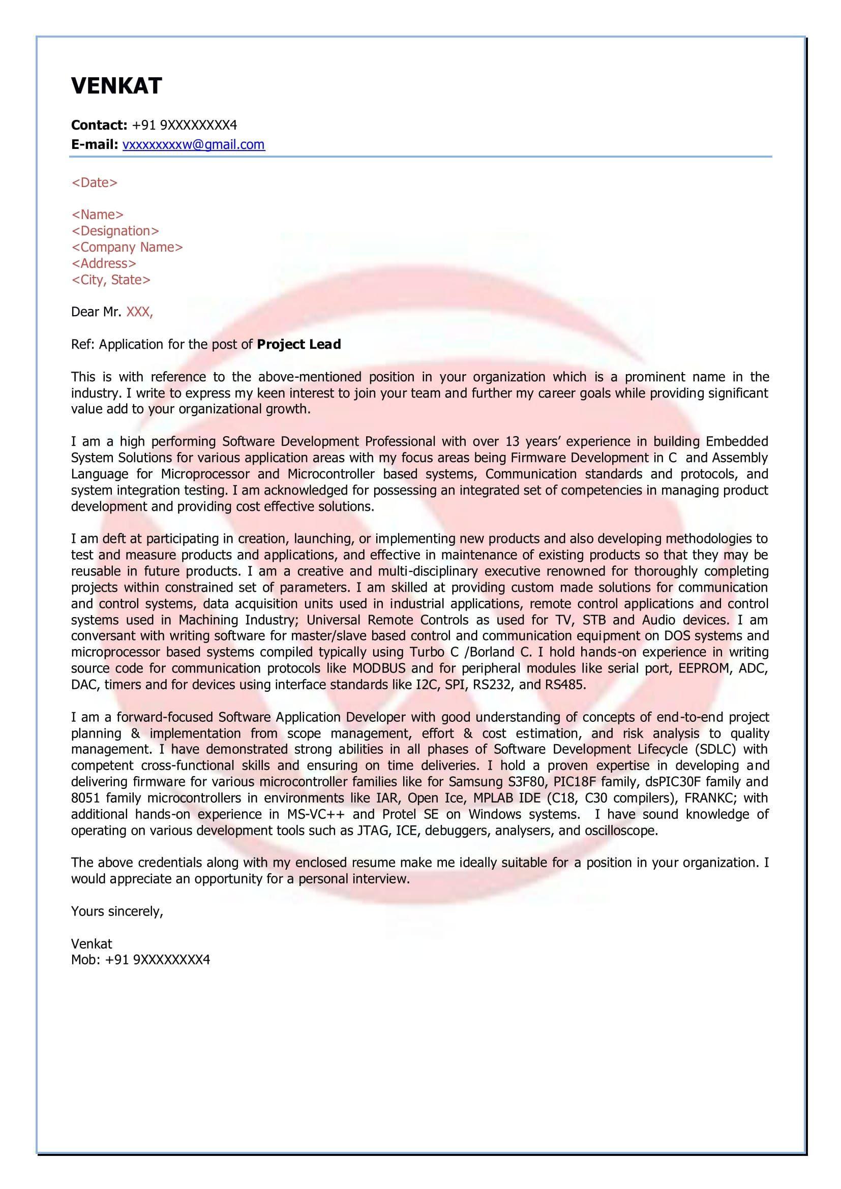 software engineer sample cover letter format, download cover ...