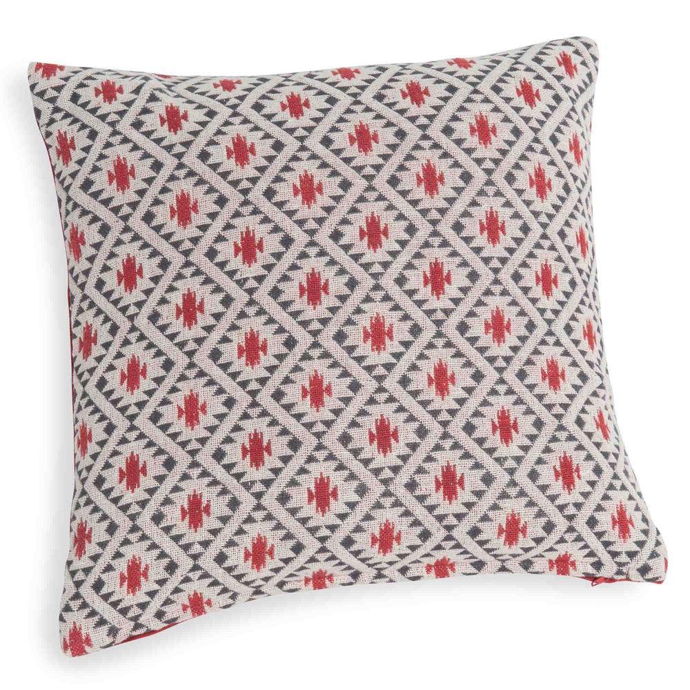 housse de coussin en coton motifs rouge maisons du monde 9 99 ambiance ethnique. Black Bedroom Furniture Sets. Home Design Ideas