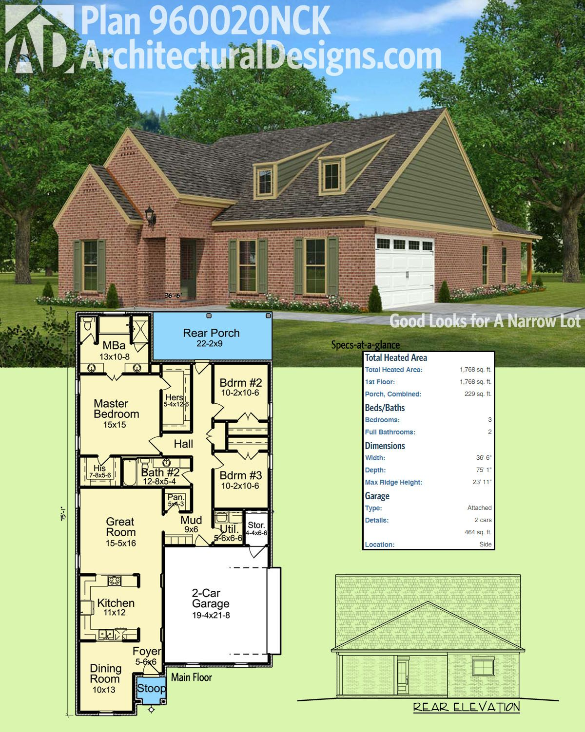 Architectural Designs House Plan 960020NCK Is Great For Your Narrow Lot.  Only 36u00276