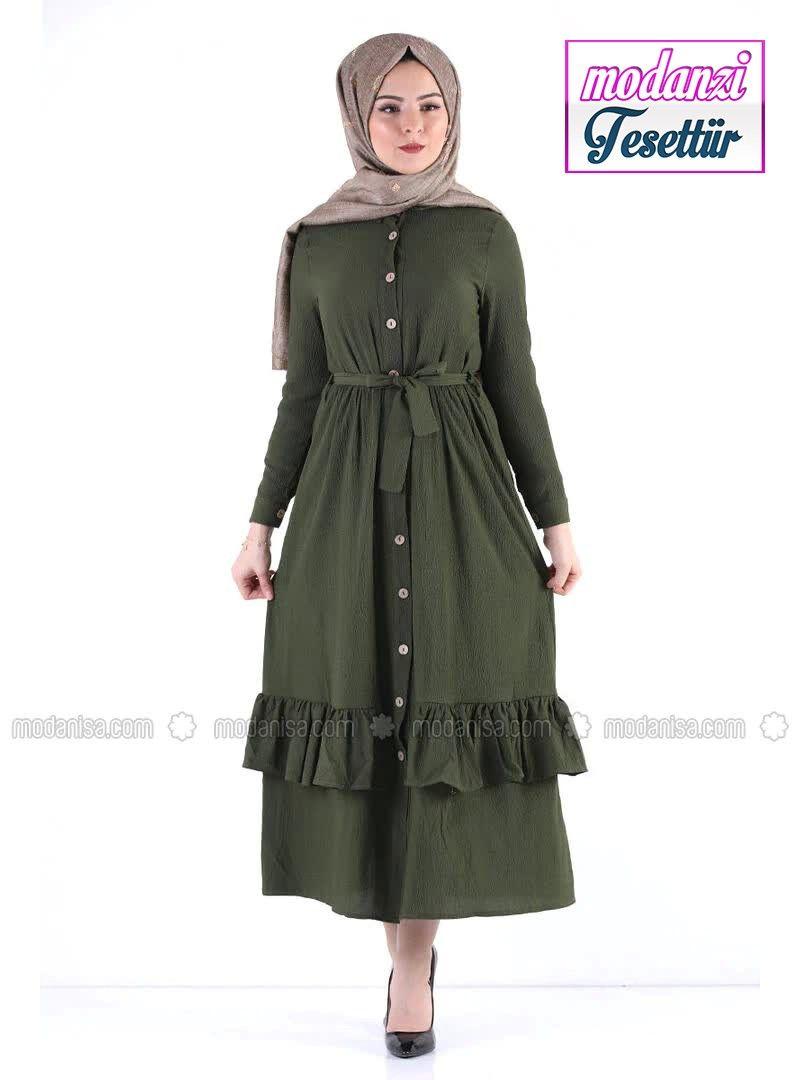 Modanisa Elbise Modelleri 2020 Dugmeli Tesettur Elbise Tsd5790 Haki Haki 2020 Elbise Modelleri Elbise Moda
