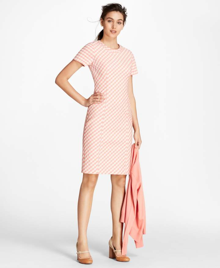7654818bff Gingham Double-Weave Sheath Dress | Products | Dresses, Gingham und ...