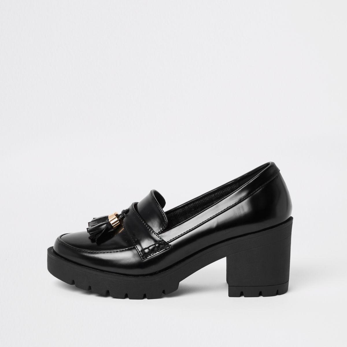 small block heel black shoes