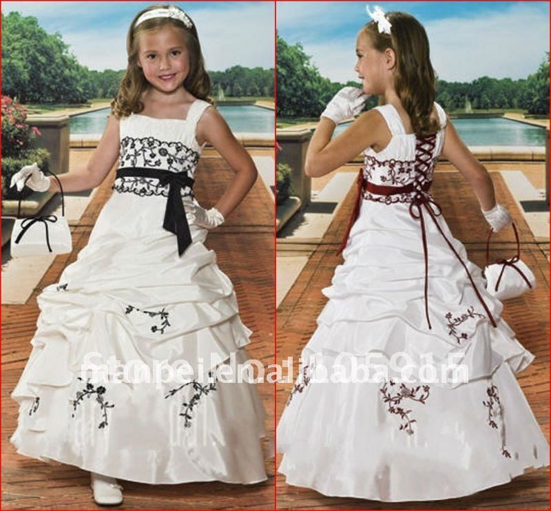 (H-60)Custom Made White Taffeta Sash Applique Lace Vintage Ruffled Lovely Lace Flower Girl Dress Patterns For Wedding