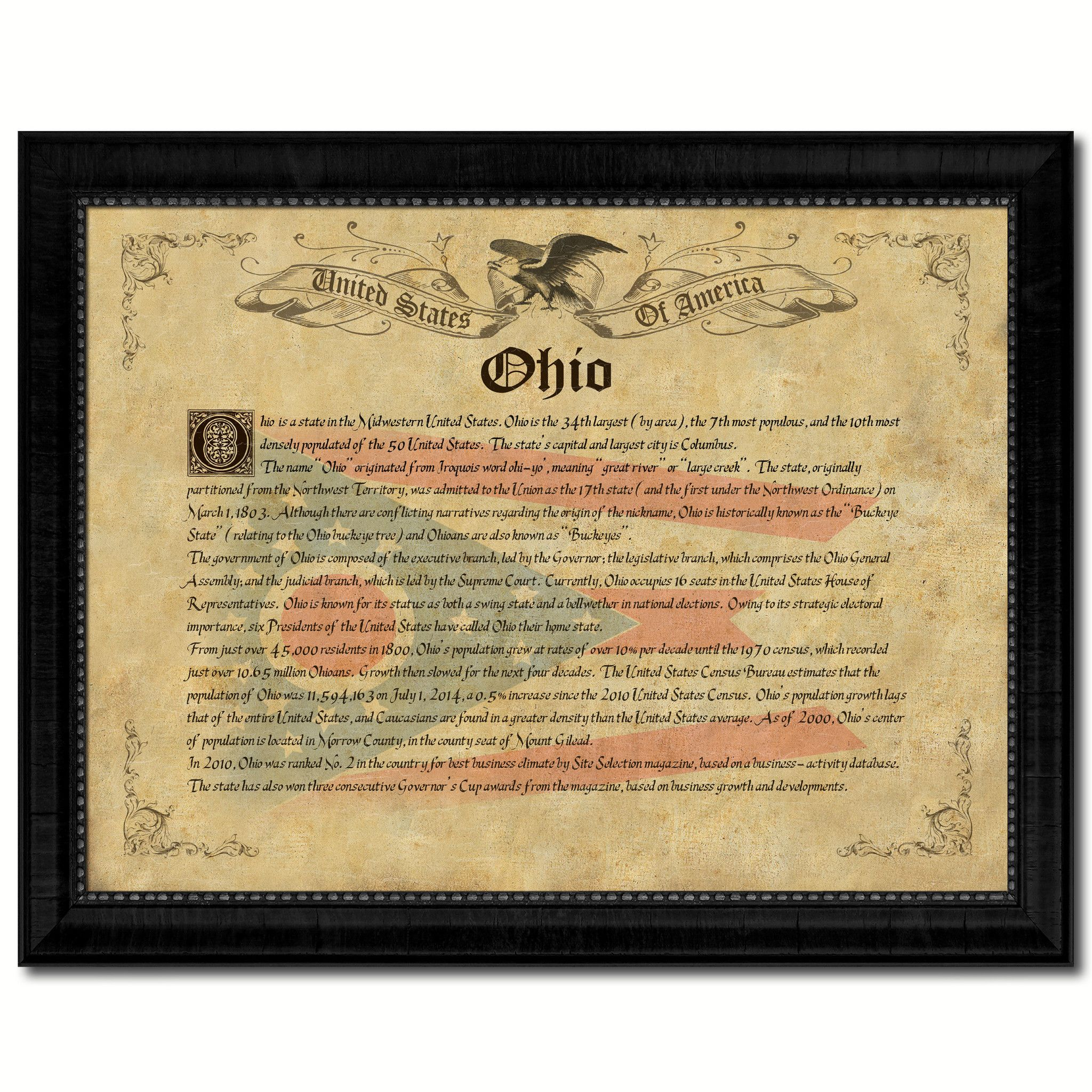 Ohio Vintage History Flag Canvas Print, Picture Frame Gift Ideas ...