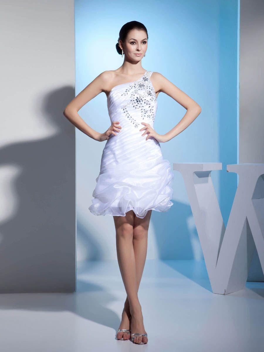 Name brand wedding dresses  Rhinestone Featured One Shoulder Organza Graduation Dress Brands