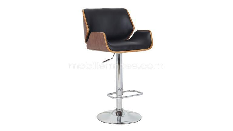 tabouret de bar design assise 63 85 cm katrina cuir noir r glable et tabouret. Black Bedroom Furniture Sets. Home Design Ideas