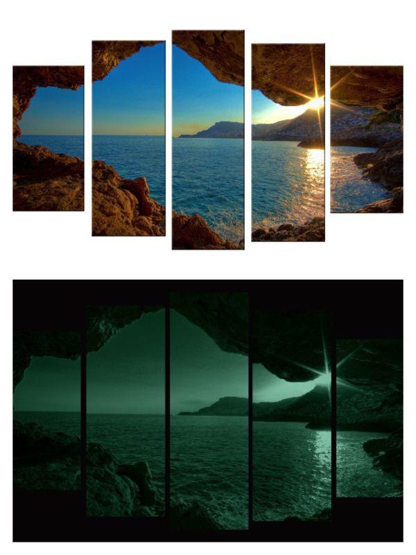 Window Sunset Canvas Wall Art Print Set Of 5 Total