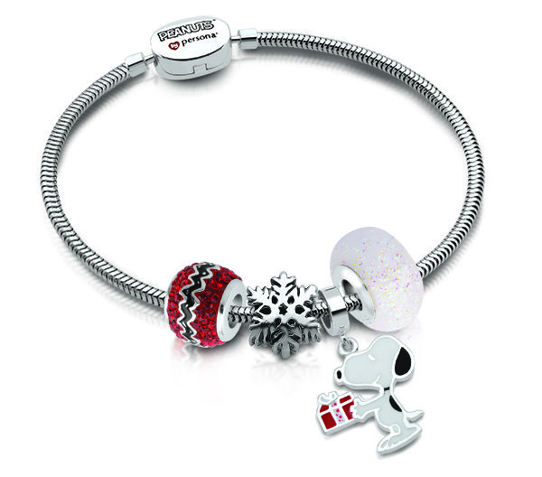 4cec2c50b A silver Snoopy charm on a Peanuts by Persona silver bracelet. Find all the  holiday Peanuts styles at www.personaworld.com